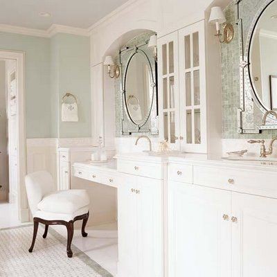 love the arches over each mirror, the color on the walls, and tile