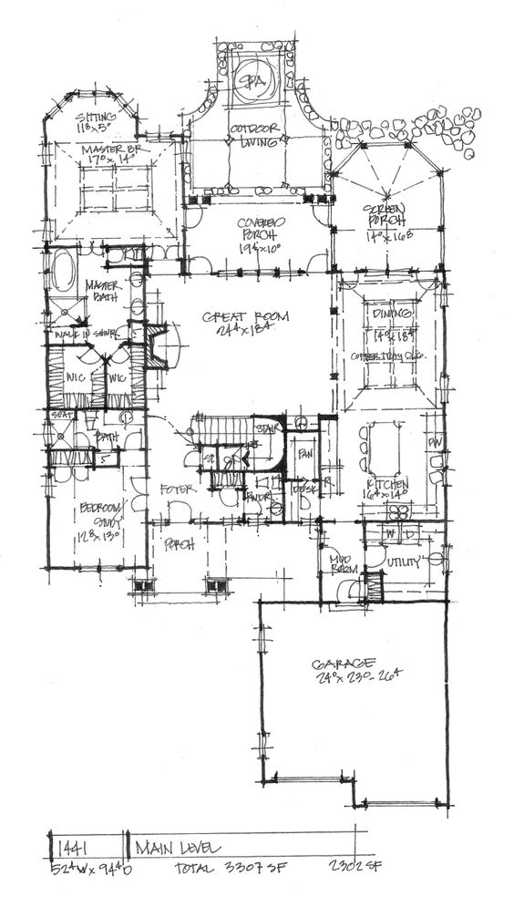 Conceptual House Plan 1441 Narrow Lot Luxury House