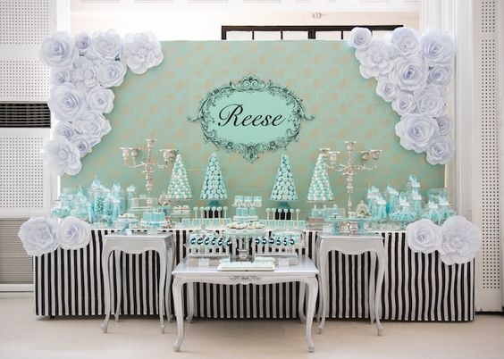 Partyscape from Breakfast at Tiffany's Inspired Birthday Party at Kara's Party Ideas. See more at karaspartyideas.com!