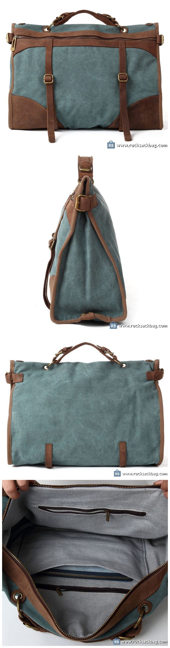 Canvas And Leather Messenger Bags For Men MacBook Bag