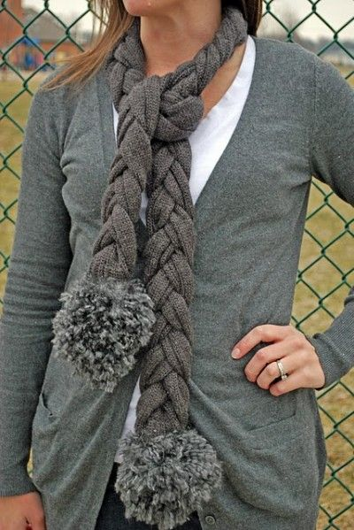 Recycle an old sweater into a braided scarf. Love it!