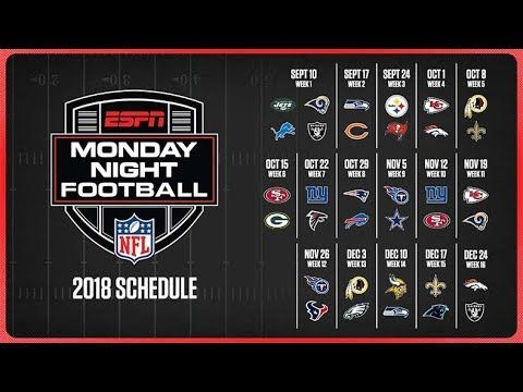 Nfl Monday Night Football Schedule 2018 The 2018 Nfl Season Marks The 49th For Monday Night Foot Monday Night Football Monday Night Football Game Nfl Season