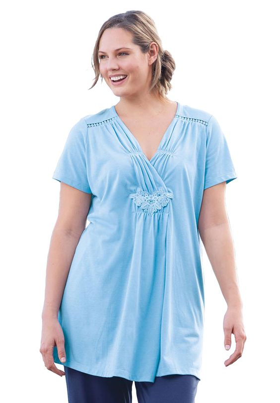 Plus Size Top in 7-Day knit with lace, tunic length | Plus Size knit tops & tees | Woman Within