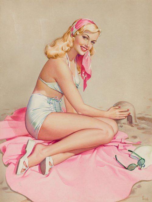 vitazur:パールFrush(アメリカ、20世紀)。 砂の城、グラマー系の女の子からピンアップ。