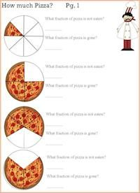 pizza math worksheet- learning fractions through pizza cooking ...