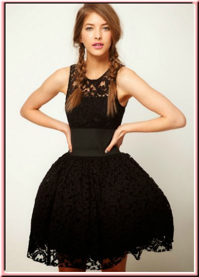 vestidos-cortos-primavera-verano-negro-encaje-vuelo-cintura-prom-gala-fiesta-noche-elegante: