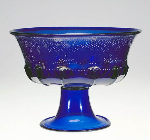 Italian, Murano, about 1500   Free-blown and mold-blown cobalt-blue glass with gold leaf and enamel decoration: