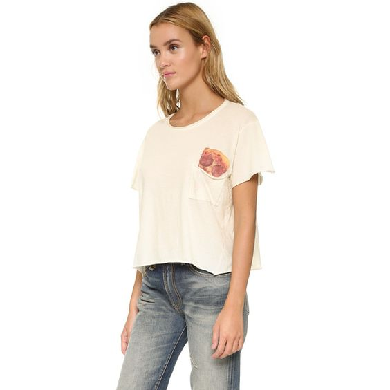 Wildfox Save It for Later Pocket Tee ($66) ❤ liked on Polyvore featuring tops, t-shirts, vintage lace, graphic t shirts, slouchy tee, cropped graphic tees, short sleeve tee and short sleeve crop top