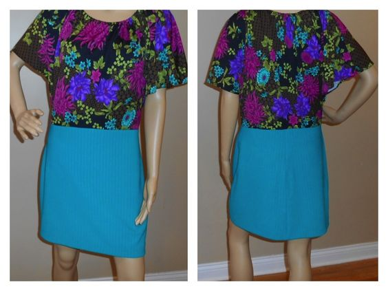 floral knit with turquoise skirt ottoman knit not Lutterloh pattern