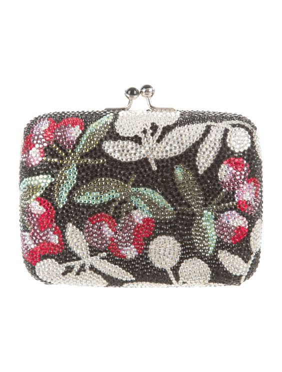 Black and multicolor crystal embellished Judith Leiber minaudière with silver-tone hardware, drop-in shoulder strap, metallic silver-tone leather lining and kiss-lock closure at top. Shop authentic designer handbags by Judith Leiber at The RealReal.