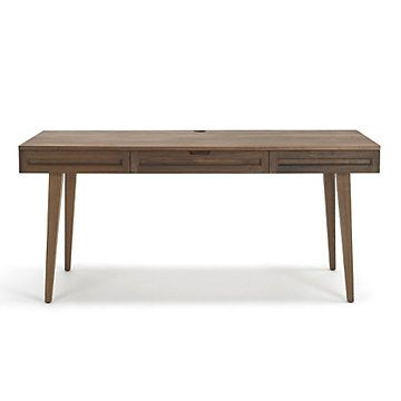 Highland 64 Solid Wood Flared Leg Desk Modern Clean