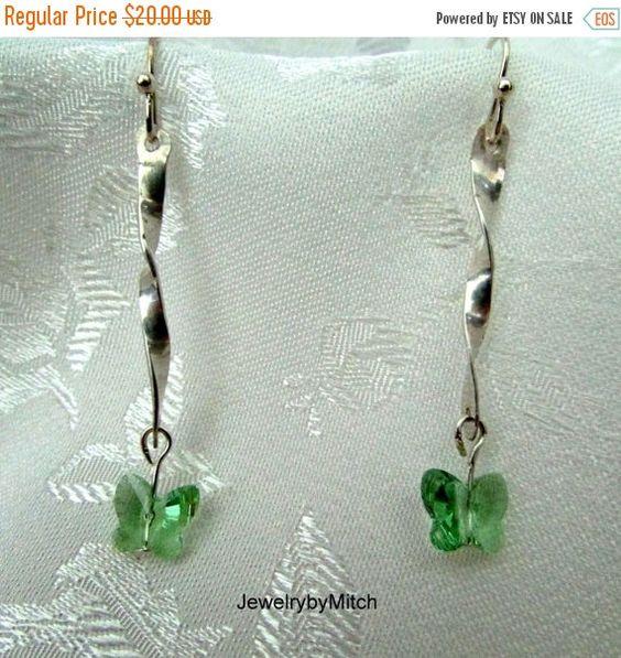 ON SALE SS earring, hammered dangle ear piece, twisted Ss, green butterfly bead, Swarovski butterfly, Ss ear wire, pierced jewelry, pierced