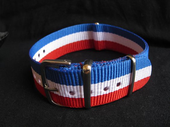 18mm red/white/blue France NATO Strap (G10) - 60 AED