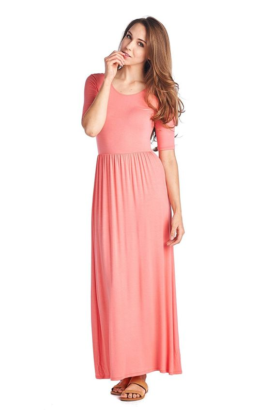 82 Days Women'S Rayon Span Jersey Maxi Long Dress with Elastic Waistband - Peach S at Amazon Women's Clothing store: