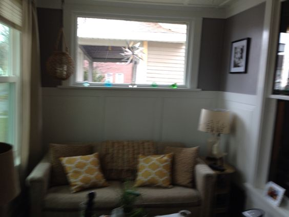 My sunroom makeover. Love the gray and white!