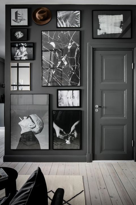 Deep Grey Gallery Wall With Black And White Photography Decor