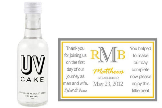 UV Vanilla or Chocolate Cake Vodka with a personalized label