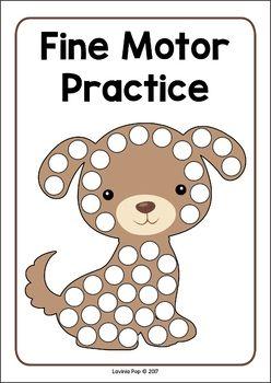 Pets Preschool and Kindergarten Centers. Dog fine motor practice mat.