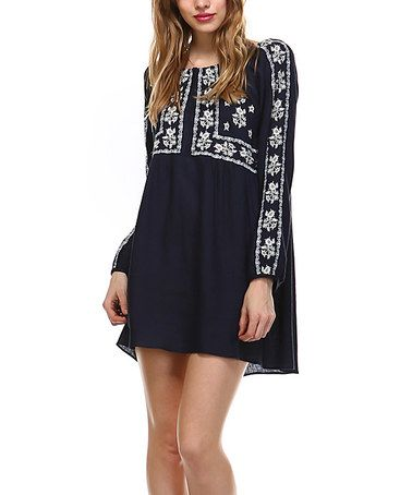 Navy Floral Embroidered Linen-Blend Shift Dress #zulily #zulilyfinds…with capri leggings at my age