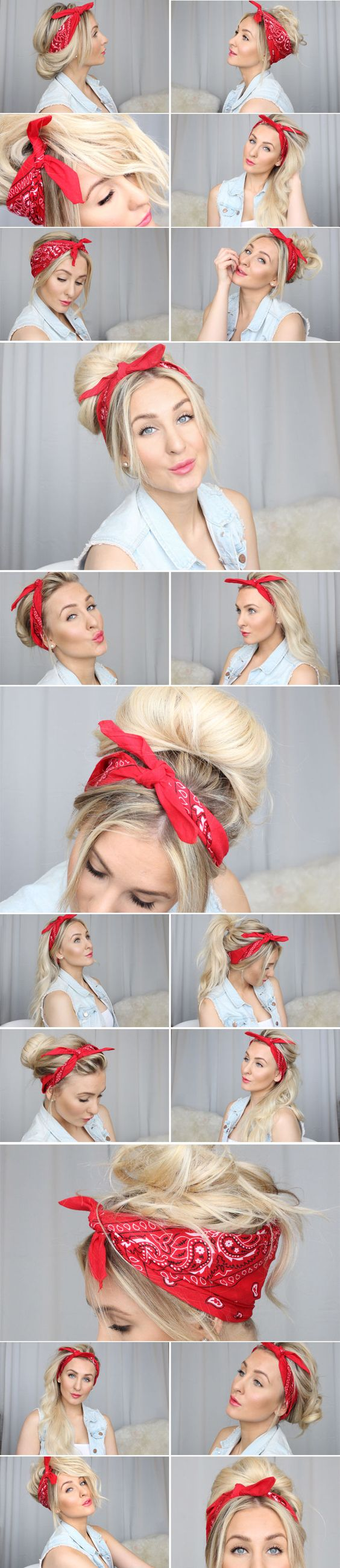 Different ways to wear a bandana. Her facial expressions are killing me, but the hair's cute.