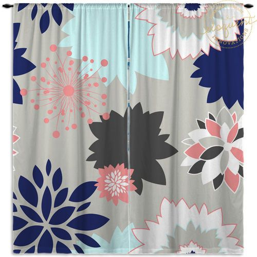 Dahlia Curtains Navy Coral Gray Floral Curtain Panels Girls Kids Window Curtains 370 By Eloquent Kids Window Curtains Floral Curtains Panel Curtains