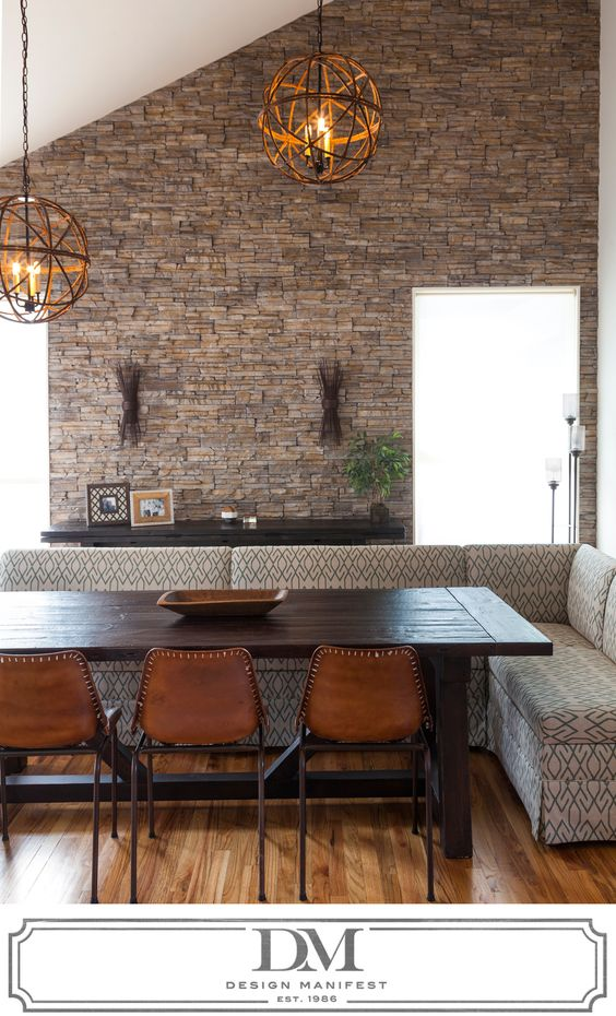 Dining Rooms Banquette Seating And Stone Walls On Pinterest