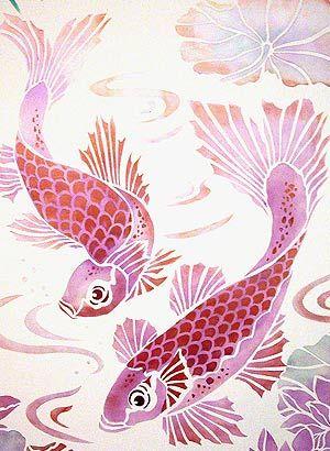 Fish stencils koi carp stencil interior design home for Pink koi fish