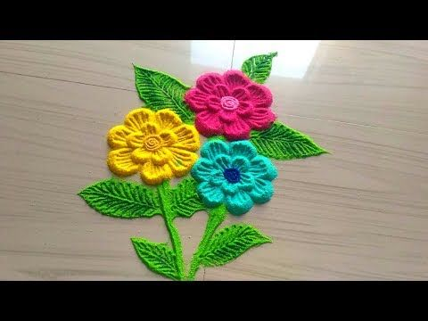 How To Draw Simple Flower Rangoli Designs With Colours For Celebrations Kolam Designs Muggulu Flower Rangoli Rangoli Border Designs Simple Flower Rangoli