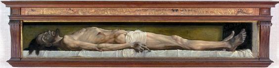 """Hans Holbein, dit Le Jeune, """"Le Christ mort au tombeau"""", 1521, huile sur panneau, 30 x 200 cm, Kunstmuseum de Bâle."""
