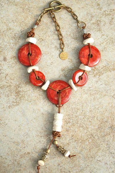 Diseñador Coral Donut y Cuero de la borla collar