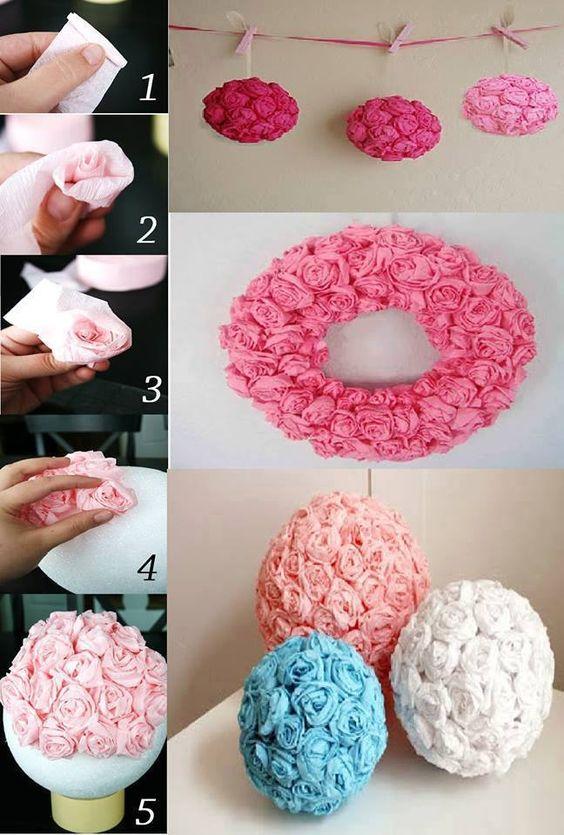 Rosas confeccionadas com papel crepom. Você pode utilizar como base, isopor.