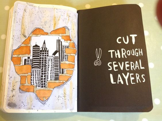 wreck this journal | cut through several layers