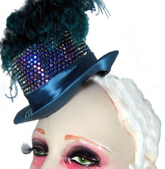 Rhinestone Encrusted Mini Top Hat in by topsyturvydesign on Etsy
