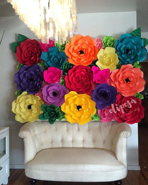 4x6 Fiesta Paper Flower Backdrop Wall Candy Buffet by ShopOliposa