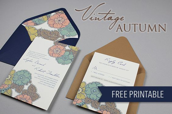 Printable Wedding Invitation Sets: DIY Vintage Autumn Wedding Invitation Set
