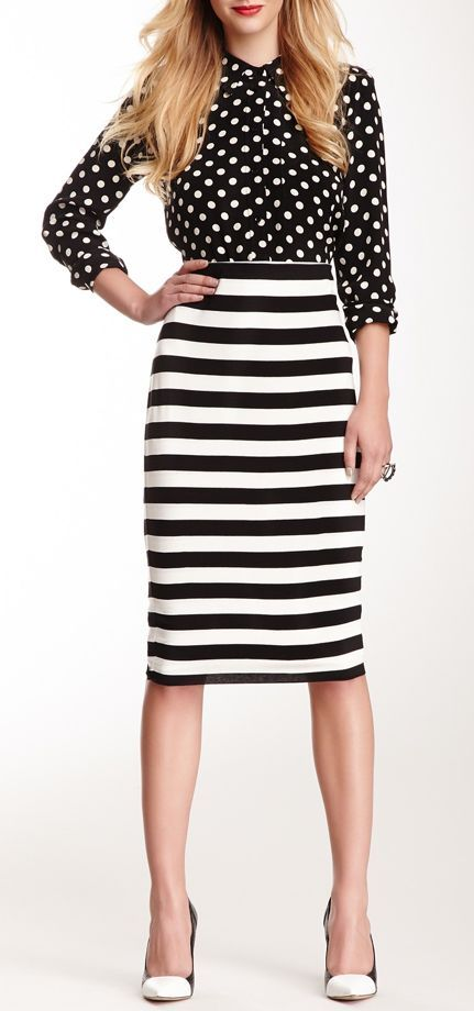 Black & White // Stripes & Polka Dots Pattern Mix: