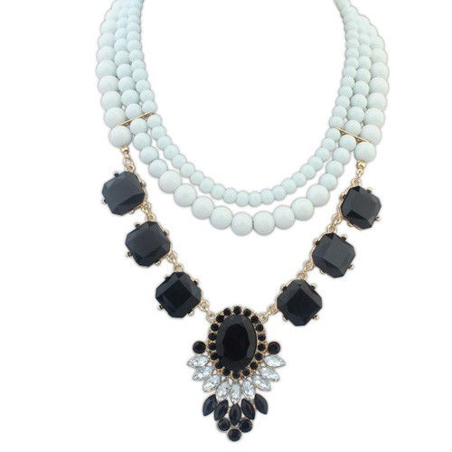 Fashion Ladies Temperament Elegant Three-layer Beaded Bib Necklace[US$8.26]shop at www.favorwe.com