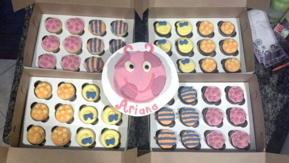 Backyardigans 1st birthday. Smash cake for the birthday girl and cupcakes for the guests!