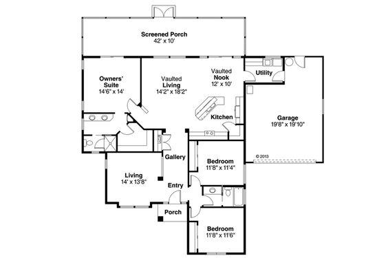 Mediterranean Style House Plan - 3 Beds 2 Baths 1795 Sq/Ft Plan #124-228 Floor Plan - Main Floor Plan - Houseplans.com