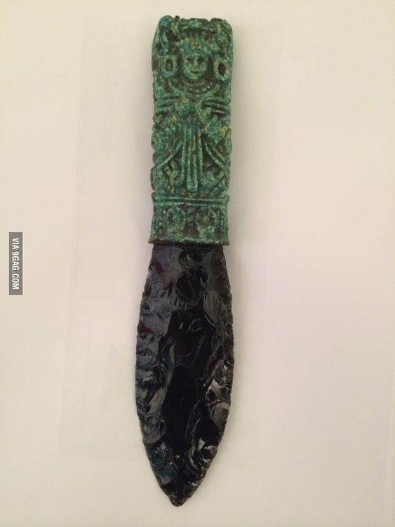 My favourite Knife. Atztec obsidian knife. Used to remove the heart of the sacrifice!