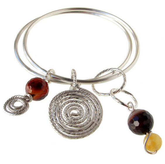 Sterling Silver Bracelet with Spirals & Agate by emmanuelaGR