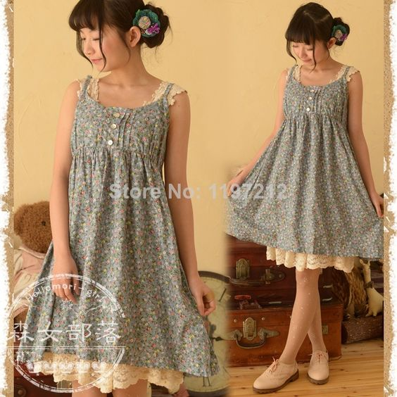 2014 Mori Girl Casual Print Button Crochet Novelty Tunic Vintage Plus Size Flower Desigual Vestidos Longos Women Dress