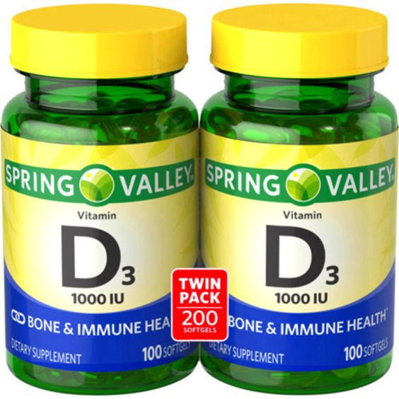 Spring Valley Vitamin D3 Dietary Supplement Softgels, 1000 IU, 100 count, 2 pk…