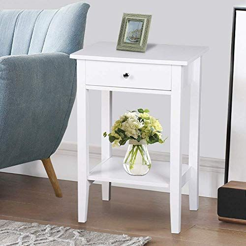 New Ssline Tall Bedside Table White Wooden One Drawer Night Stand
