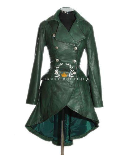 Valentina-Gruen-Damen-Militaer-Korsett-Stil-Designer-Echtleder-Schlaghose-Mantel
