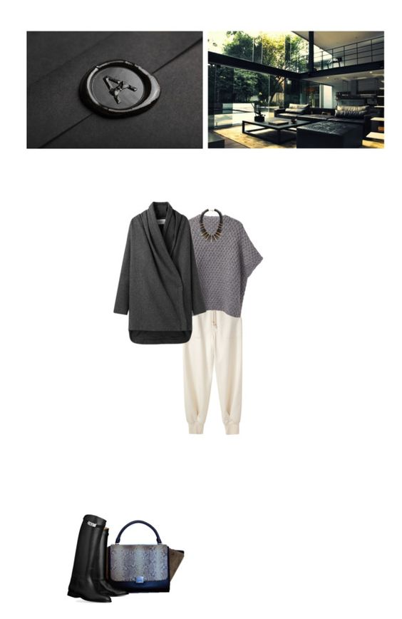 """Chalayan Grey Coat & Celine Khaki Python Trapeze"" by abigail-abigail ❤ liked on Polyvore"