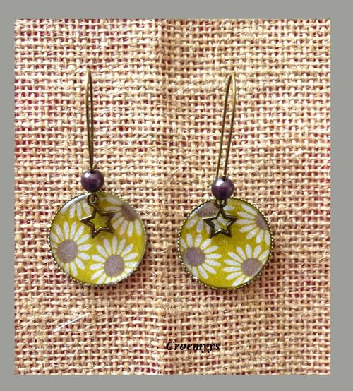 Grandes boucles d'oreilles liberty daisy sun : Boucles d'oreille par crocmyys