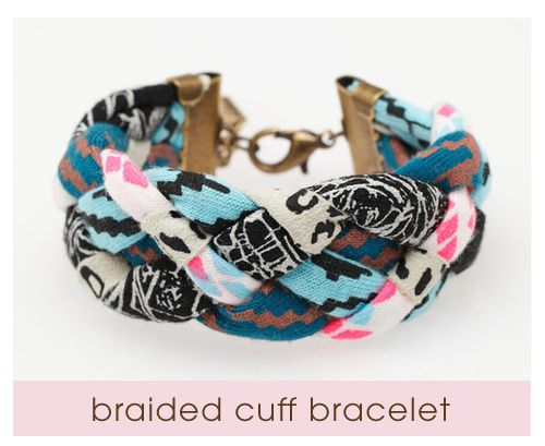 SO cute! This bracelet is made with hand printed fabric and super soft sued.  I just LOVE how it all comes together. Could be a fun DIY with fabric.