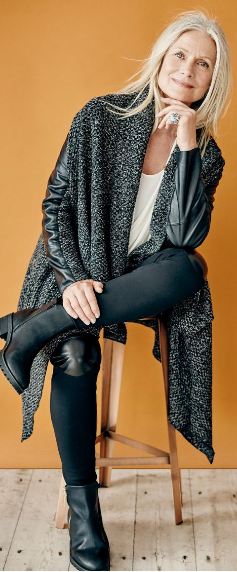 For rainy weekend errands a mix of textures has me loving those leather sleeve stripes, and knee patches!