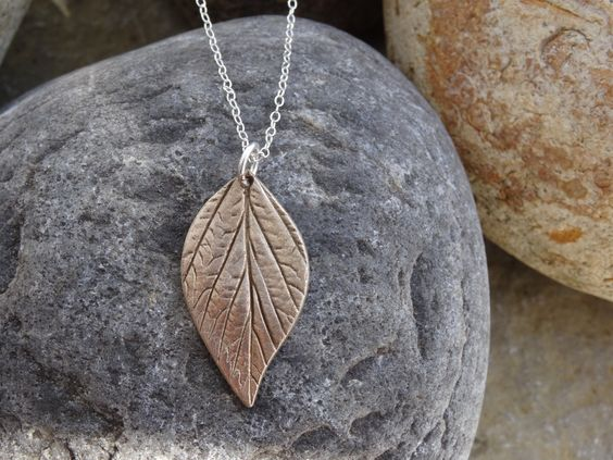 Real leaf pendant, bronze leaf, bronze and silver, necklace, leaf jewellery, gift, handmade, ladies, birthday, Christmas, by SilverWindsJewellery on Etsy
